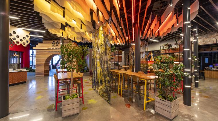 EntX Entertainment Central evokes Christchurch's past as well interior design, lobby, brown, orange