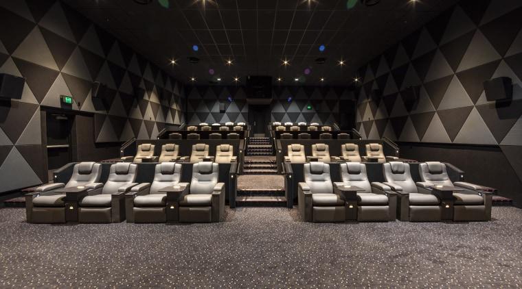 Christchurch's EntX Hoyts cinemas benefit from Temperzone air-con auditorium, function hall, interior design, theatre, black, gray