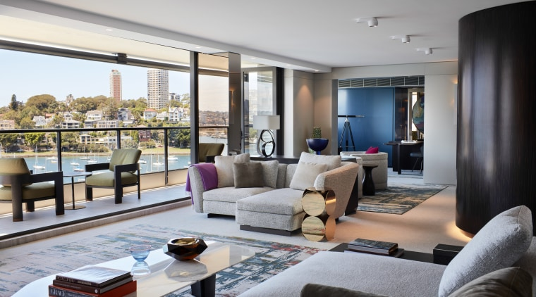 ​​​​​​​Cool, calm, luxurious and with stand-out artworks, this apartment, architecture, coffee table, couch, floor, furniture, home, interior design, living room, table, gray, Richard Archer, Archer Design, JMC Builders