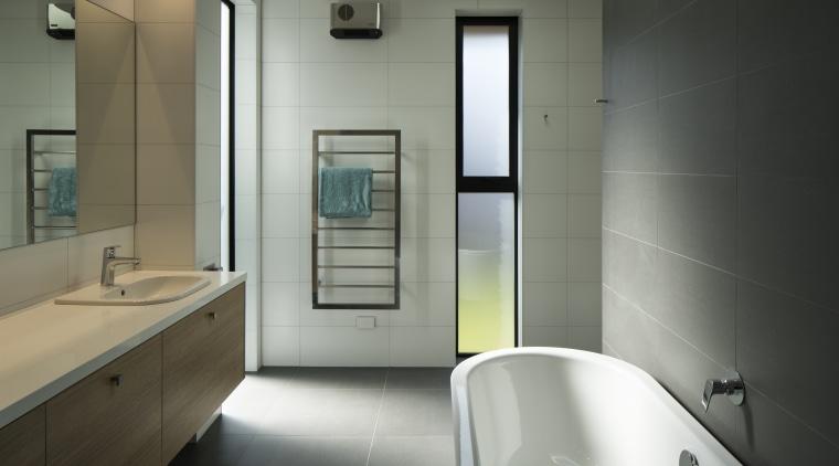 This master ensuite has a quiet palette and architecture, bathroom, bathtub, floor, furniture, home, house, interior design, plumbing fixture, sink, tap, tile, toilet, Condon Scott