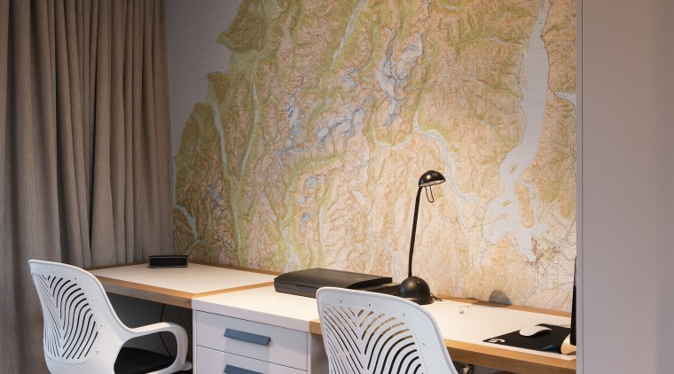 Part of a cosy family room at the architecture, chair, computer,  desk, design, furniture, home, house, interior design, office, office chair, wallpaper, Condon Scott Architects