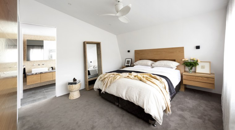 The bedhead and side tables in this master architecture, bed, bedroom, floor, flooring, furniture, ight fixture, ensuite, McMahon & Nerlich, bathroom