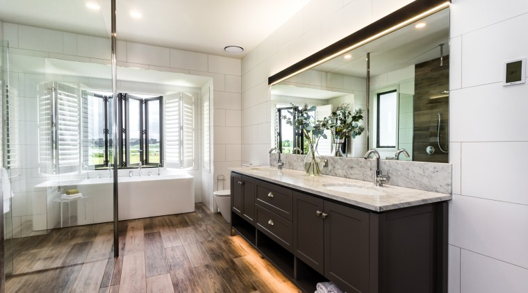 Wood-look ceramic floor tiles extend up the shower architecture, bathroom, bathroom cabinet, cabinetry, floor, flooring, tiles, basin, Peta Davy, Yellowfox