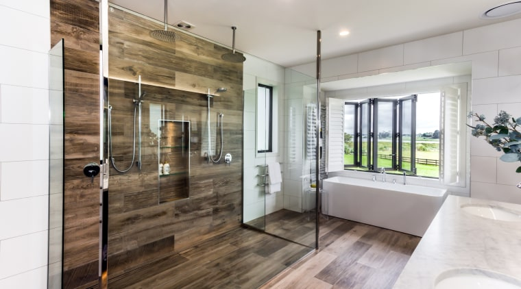 While a newly configured bay window provides the architecture, floor, flooring, tile, tiles, Peta Davy, Yellowfox, shower, bath