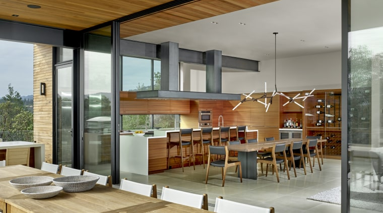 Four large sliding glass panels can be stacked architecture, design, dining room, floor, flooring, furniture, glass, home, house, interior design, living room, table, window, sliding doors, patio, outdoor living, timber ceiling, de Vito Architecture + Construction