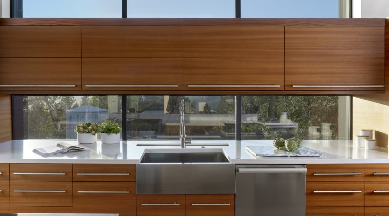 Cabinetry in this kitchen is in a richly architecture, cabinetry, countertop, benchtop, cabinetry, design, home, house, kitchen, wood, engineered quartz, butler sink, stainless steel, de Vito Architecture + design