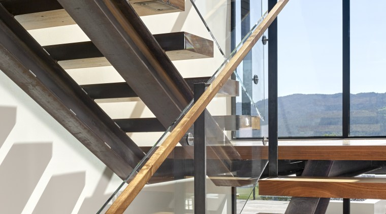 Nz3501Zackdevito–306103745 18 - architecture   baluster   building architecture, baluster, building, daylighting, glass, handrail, hardwood, home, house, interior design, iron, line, loft, material property, metal, property, real estate, room, stairs, steel, window, wood, gray