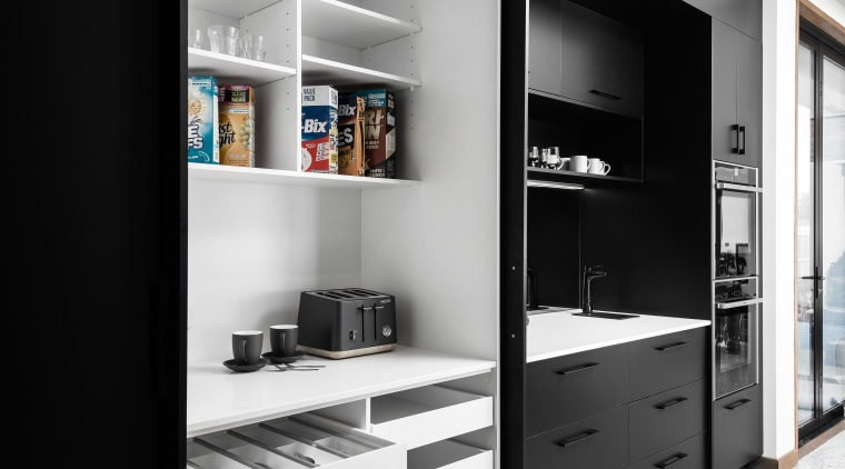 ​​​​​​​Storage was not a problem in this kitchen black, black-and-white, storeage, cabinetry, cupboard, monochrome, self, shelving, black, white, Impact Kitchens