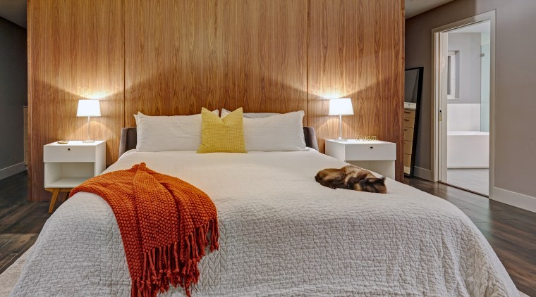 Part of a project by designer Nar Bustamante, architecture, bed, bedroom, bedroom, comfort, furniture, interior design, linen, textile, timber wall, Nar Design Group