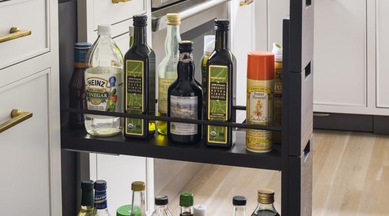 This kitchen features a variety of niche storage kitchen, cabinetry, countertop, furniture, interior design, kitchen, pantry, refrigerator, shelf, shelving, storeage, Studio Dearborn