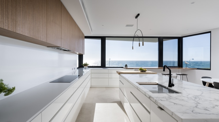 The owners wanted this kitchen to accommodate several architecture, countertop, design, furniture, house, interior design, kitchen, penthouse apartment, table, white, Kitchen, tap, sink, countertop