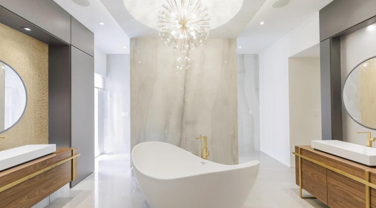 ​​​​​​​As part of this makeover by architect Sandra architecture, bathroom, bathtub, floor, flooring, interior design, plumbing fixture, tile, wall, slipper bath, chandalier, Sandra Diaz-Velasco, walk-in shower