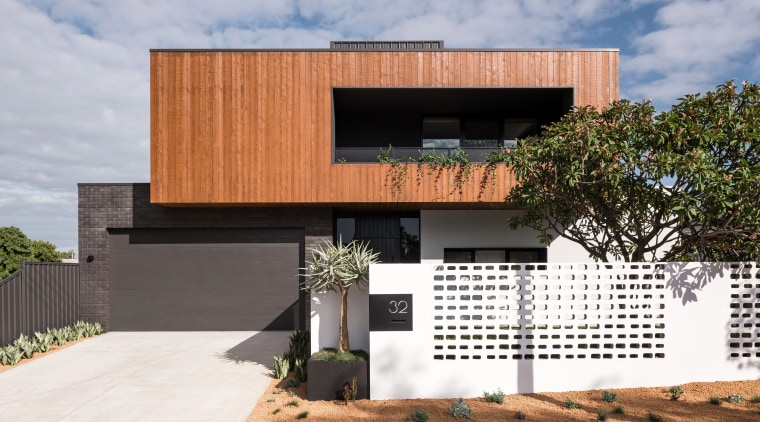 ​​​​​​​Timber cladding, dark brickwork and a painted steel architecture, building, design, facade, home, house, interior design, land lot, material property, project, property, real estate, residential area, room, sky, tree, gray