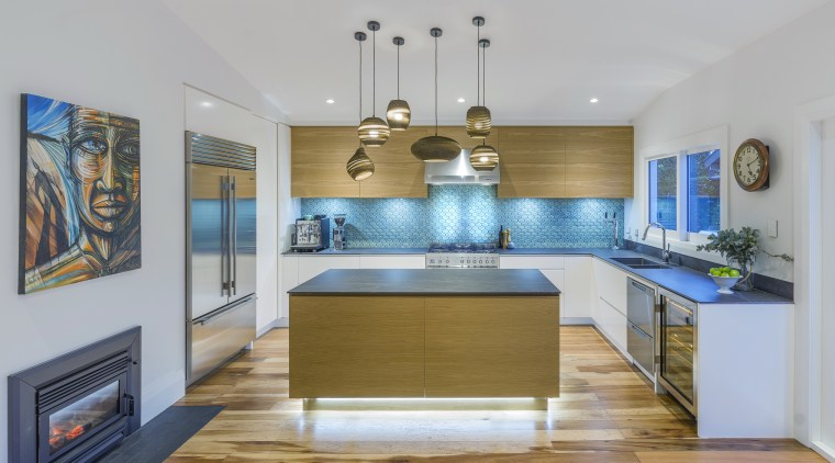 Using the expanded available space from the home's Kitchen Design, Kira Gray, cabinetry, ceiling, countertop, benchtop, dining room, floor, flooring, furniture, hardwood, home, house, interior design, kitchen, wood, wood flooring