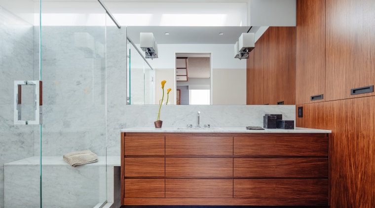 Both the owner of this apartment and the architecture, master bathroom, bathroom accessory, cabinetry, hardwood, master bathroom, interior design, tile, wood, Asian Influence, Andrew Wilkinson