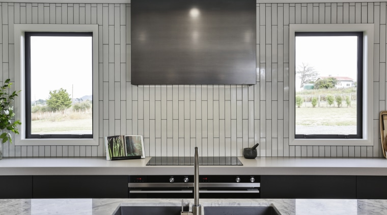Symmetry plays a central part in this rural architecture, kitchen, cabinetry, countertop, home, house, interior design, Kyla Potter, Carlielle Kitchens