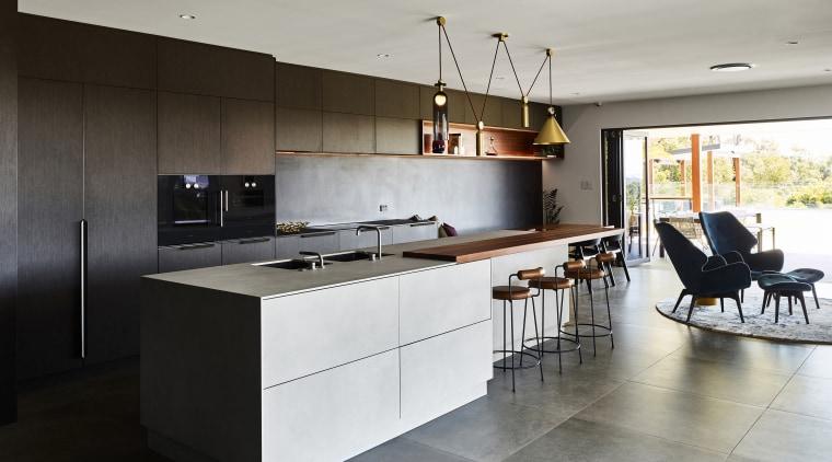 Decluttering a cluttered existing interior layout has ensured architecture, Kitchen, cabinetry, countertop, benchtop, Island, cupboard, design, floor, flooring, furniture, hardwood, oven, loft, Darren James