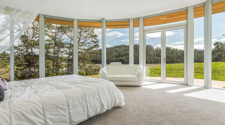 Master suite with quite a view. The elegant gray, white