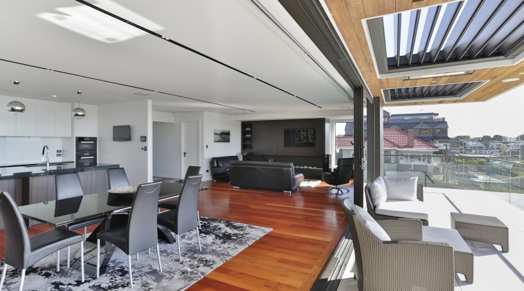 Blinds that drop down from the ceiling, operable gray