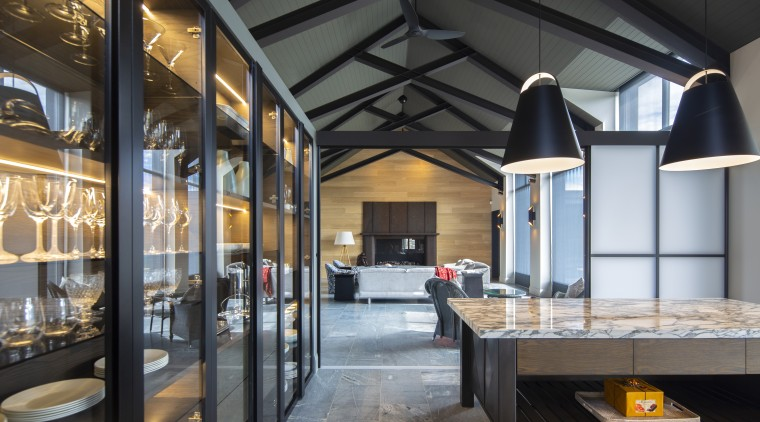 For this industrial-look kitchen by Stefan Sonntag of black, gray