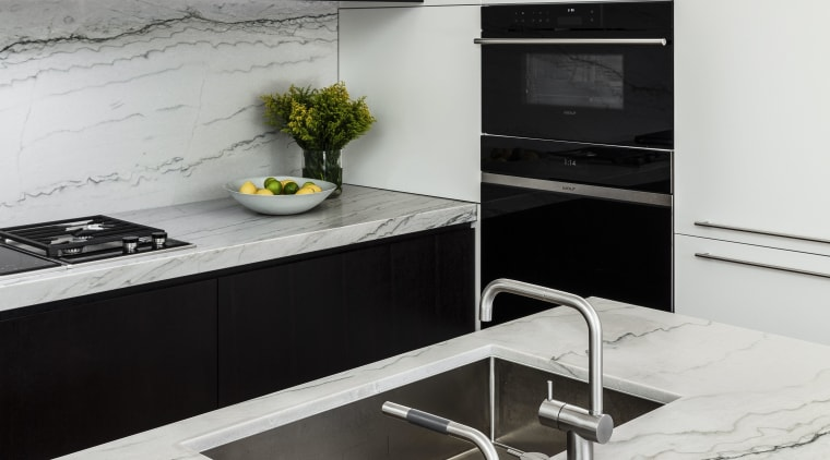 This kitchen's minimalist lines connect with the wider