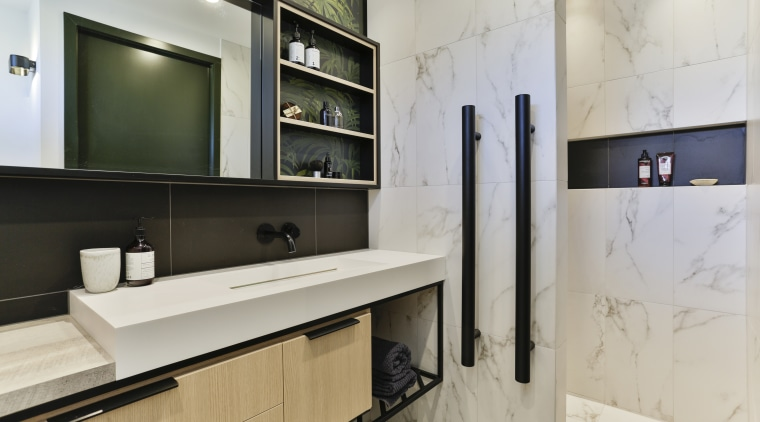This walk-in-and-turn shower provides the degree of privacy gray