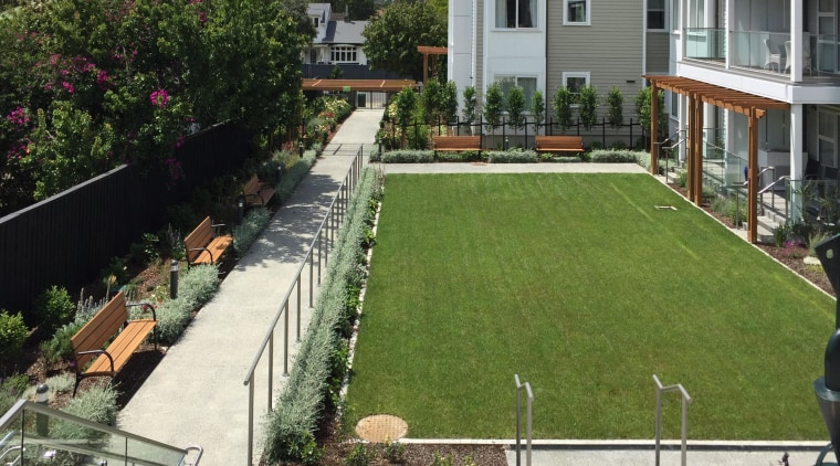 Planting, seating, lighting, and the public frontages of apartment, architecture, artificial turf, backyard, building, courtyard, garden, grass, home, house, landscaping, lawn, plant, property, real estate, residential area, roof, tree, urban design, yard, white