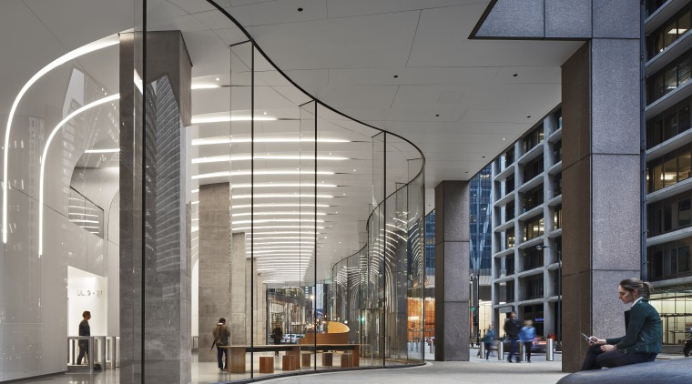 The new sinuous curving storefront on the CME architecture, building, commercial building, corporate headquarters, design, facade, glass, headquarters, interior design, lobby, metropolitan area, mixed-use, gray