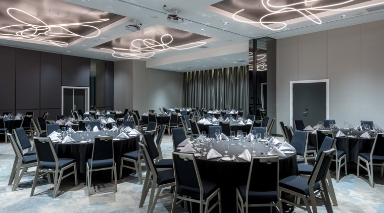 Conference facilities at Four Points by Sheraton Auckland architecture, banquet, building, ceiling, dining room, event, function hall, furniture, interior design, restaurant, room, table, gray, black