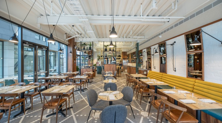 For the Vices & Virtues restaurant/bar at Sudima architecture, building, cafeteria, ceiling, furniture, home, house, interior design, mixed-use, property, real estate, restaurant, room, table, gray