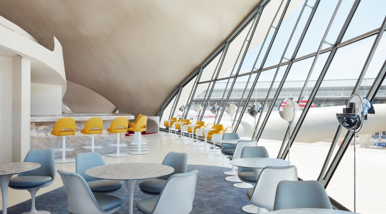 Bon appétit! At the TWA Hotel, at JFK architecture, building, ceiling, chair, design, furniture, interior design, room, gray, white