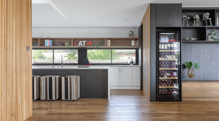 While the previously renovated kitchen was retained in gray