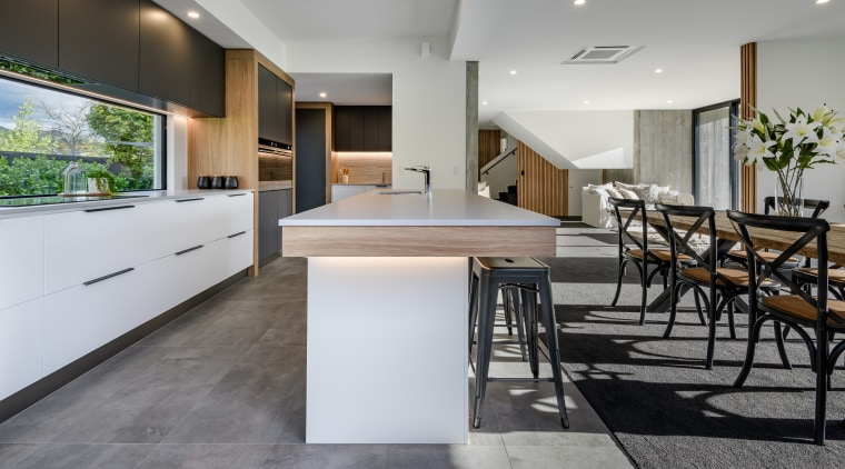 This kitchen island offers casual seating and is