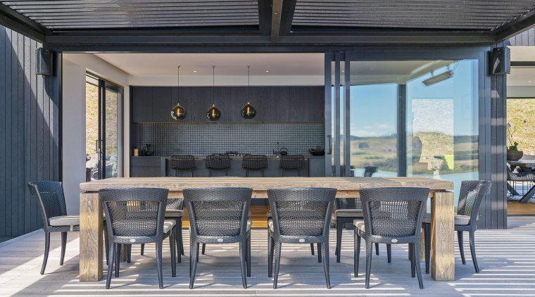 ​​​​​​​The outdoor dining area in this home is