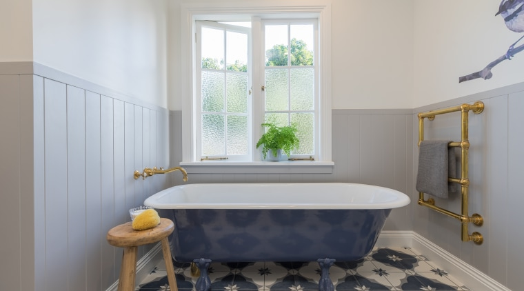 Hand-made NZ cement tiles in a mix of architecture, bathroom, bathtub, blue, building, ceiling, estate, floor, flooring, furniture, home, house, interior design, property, purple, real estate, room, tile, yellow, gray, privacy, textured windows, natural light