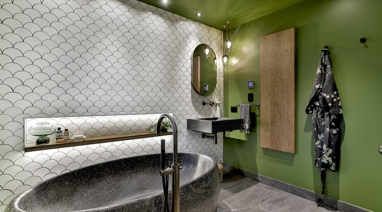 The original theme for this bathroom was going architecture, bathroom, building, ceiling, floor, flooring, green, house, interior design, plumbing fixture, property, room, space, tile, wall, gray, brown