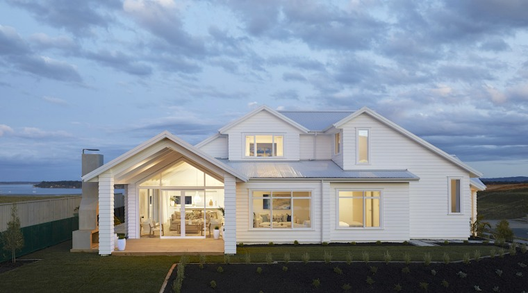 The Hampton's style two-storey home opens up to