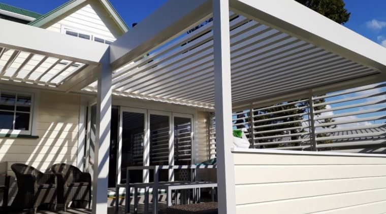 Outdoor Room creates more space for large, extended architecture, building, facade, home, house, material property, porch, property, real estate, residential area, roof, shade, siding, white, black