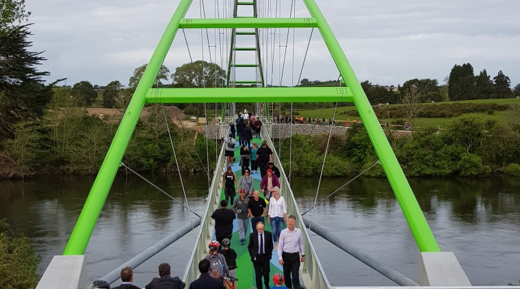 Perry Bridge opening. bridge, leisure, recreation, river, tourist attraction, tree, water, waterway, white