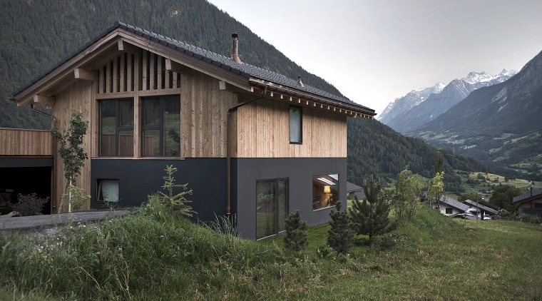 Picture North And West Facades - alps | alps, cottage, elevation, facade, home, house, hut, mountain, mountain range, mountainous landforms, property, real estate, roof, sky, black, brown