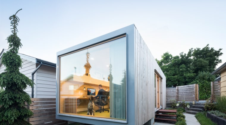 RBA office – dusk architecture, backyard, cottage, facade, home, house, property, real estate, shed, siding, window, white