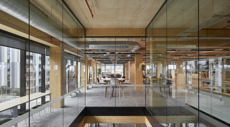 The arrangement of columns creates a more intimate architecture, ceiling, daylighting, interior design, lobby, mixed use, gray, brown