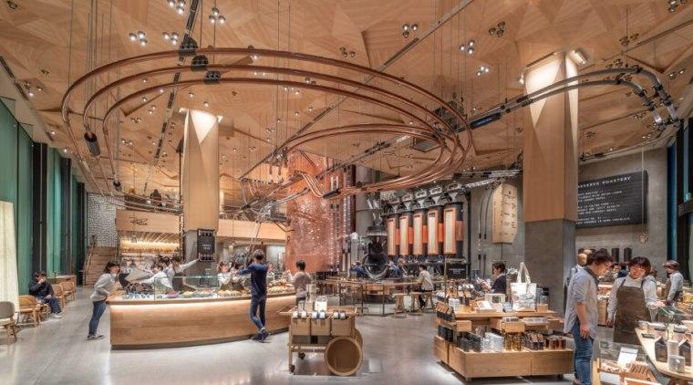 Starbucks Roastery – Tokyo - building | food building, food court, interior design, lobby, brown