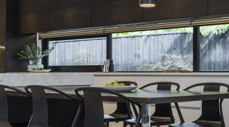 Kitchen by Eterno Design chair, dining room, furniture, interior design, kitchen, table, gray, black