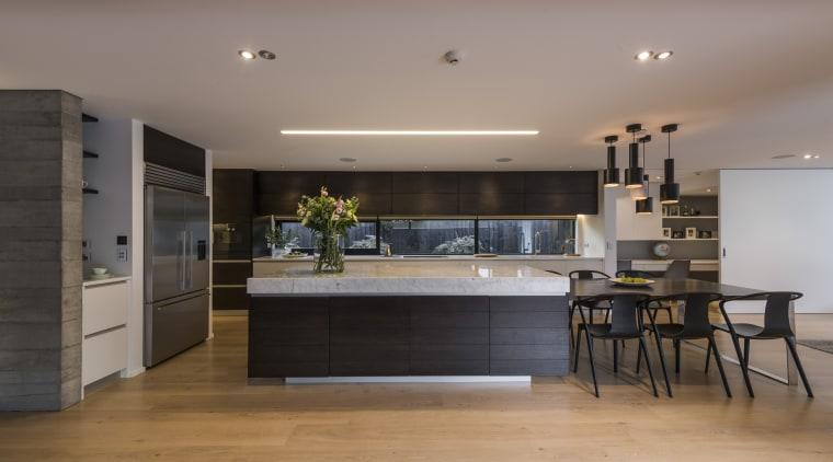 Kitchen by Eterno Design countertop, floor, flooring, house, interior design, kitchen, gray, black