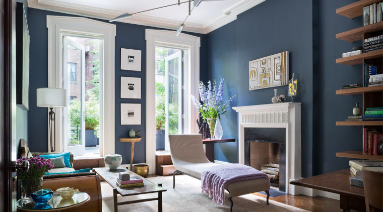 The parlour's glowing blue walls set off the ceiling, home, interior design, living room, room, window, black