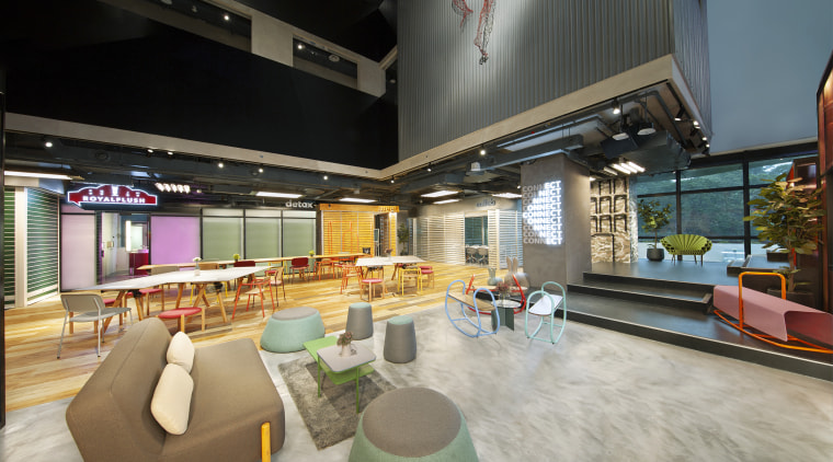 One of lyf Funan Singapore's expansive and contemporary architecture, building, design, home, house, interior design, lobby, loft, real estate, restaurant, room, gray, black