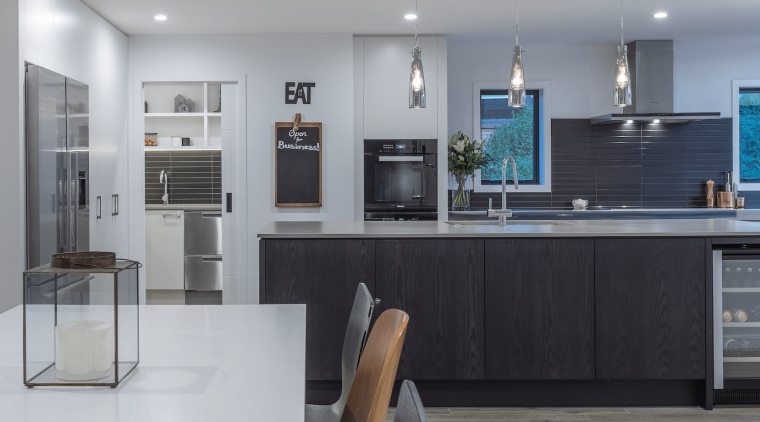 Fyfe Kitchens – designed by Kira Gray countertop, cuisine classique, home appliance, interior design, kitchen, room, gray, black