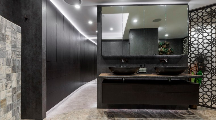 Going darker can create a bold statement architecture, ceiling, floor, interior design, wall, gray, black