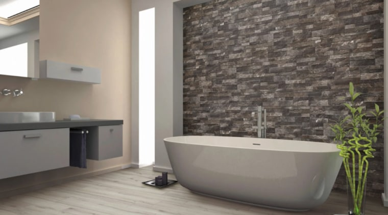 Rock tiles by The Tile Depot https://trendsideas.com/profiles/the-tile-depot/collections bathroom, floor, flooring, interior design, room, tile, wall, gray